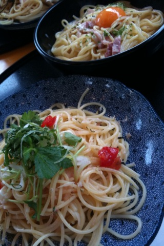 昼はスパゲッティ